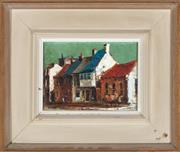 Sale 9080J - Lot 86 - Ric Elliot - Suburban street scene 15 x 2.5cm, framed size 28 x 33cm