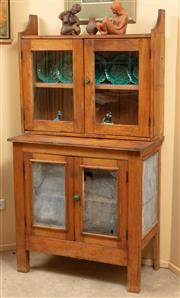Sale 9071H - Lot 62 - A pine meat safe together with a wall mountable display cabinet, total height 158cm x Width 85cm