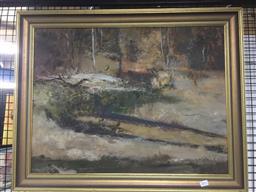 Sale 9147 - Lot 2091 - Artist unknown, Bush landscape, oil on canvas (58x75cm), signed indistinctly lower left