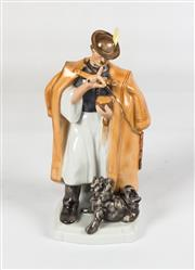 Sale 8342A - Lot 4 - A Herend figure of a hunter with dog, H 21cm
