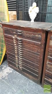 Sale 8395 - Lot 1047 - Antique 20 Drawer Printers Typeset Drawer Unit