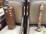 Sale 8447 - Lot 1040 - Vintage Copper Extinguisher w Copper Fire Nozzle