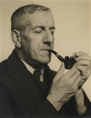 Sale 8696A - Lot 5030 - Max Dupain (1911 - 1992) - Portrait of a Man with Pipe 29.5 x 23.5cm