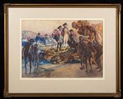 Sale 8590A - Lot 24 - George Washington Lambert, 1873-1930 - Landing of Captain Cook 33.5 x 47cm