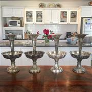 Sale 8878T - Lot 8 - English Silver Plated Set of Four Trumpet Epergne Centrepieces with a central bowl, Height 44cm