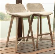 Sale 8904H - Lot 66 - A pair of Satara outdoor living UV treated bar stools in ivory. Height of back 88cm x Width 50cm