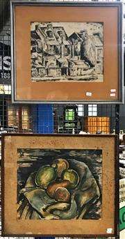 Sale 8945 - Lot 2085 - Artist Unknown (2 works) Sydney Street Scene, 1948ink ; Still Life 1945 watercolour (frame sizes: 52 x 58cm; 51 x 56cm), each sig...
