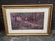 Sale 8964 - Lot 2095 - After Frederick McCubbin Violet and Gold decorative print ed. 55/1500, 80 x 114cm (frame), signed by John McCubbin (printed for Ce..
