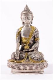 Sale 9010D - Lot 797 - Cast Metal Buddha Figure with Silvered Finish (H:20cm)
