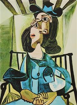 Sale 9108A - Lot 5067 - Pablo Picasso (1881 - 1973) - Woman with Hat in Seated Armchair 43 x 30 cm (sheet)