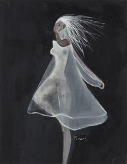 Sale 9212A - Lot 5099 - MADELAINE (MARDI) DAENS Woman in White Chiffon oil on canvas 30 x 24 cm (frame: 47 x 42 x 3 cm) signed lower right