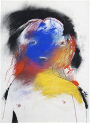 Sale 8410A - Lot 5054 - Anne Hall (1945 - ) - Untitled (Blue-faced Model II) 76.5 x 56cm (sheet size)