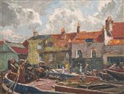 Sale 8510 - Lot 558 - Will Ashton (1881 - 1963) - Barges on the Thames River, London 25 x 33.5cm