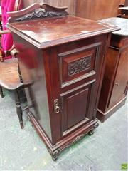 Sale 8559 - Lot 1050 - Late Victorian Walnut Bedside Cabinet, with carved panel door & cabriole legs