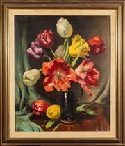 Sale 8590A - Lot 66 - John S Loxton - Still life Tulips in Jug 56.5 x 47cm