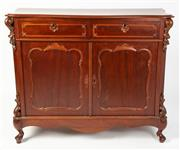 Sale 8620A - Lot 10 - An antique mahogany small sideboard c. 1870. The serpentine top fitted with candle slides to each side, the full length frieze drawe...