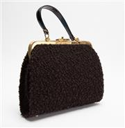Sale 8661F - Lot 74 - A Jayson Bundstan textured felt/wool bag with gold toned clasp, together with a leather pouch, the larger H 22 x W 30cm