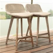 Sale 8904H - Lot 67 - A pair of Satara outdoor living UV treated bar stools in ivory. Height of back 88cm x Width 50cm