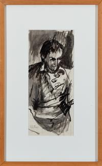 Sale 8934H - Lot 53 - William Marr, Portrait of a Man, ink on paper, 33cm x 15cm
