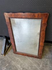 Sale 9031 - Lot 1047 - 19th Century Continental Figured Walnut Rectangular Mirror, with serpentine edge & tortoiseshell painted slip (99 x 70 cm)
