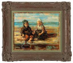 Sale 9190H - Lot 68 - Dutch school, G. Helleburgen, children and the beach, signed indistinctly lower left, oil on canvas, 23cm x 28.5cm