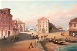 Sale 9212A - Lot 5062 - A BREWSTER (C20TH) C17th Town Scene oil on canvas board 39.5 x 60 cm (frame: 57 x 77 x 5 cm ) signed lower left