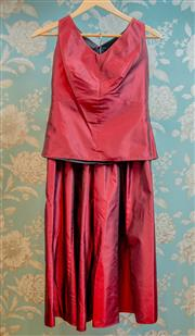 Sale 8448A - Lot 50 - Splendid vintage Von Troska burgundy shantung silk two piece sleeveless fitted top and calf length A-line skirt both lined with plea...
