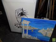 Sale 8497 - Lot 2054 - Unknown Artists (2 works) - Drummer Caricature; Venice Canal Scene, various sizes