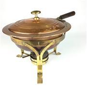 Sale 8550K - Lot 53 - Vintage French Copper Vegetable Tureen with lid on copper burner, 28 x 25cm
