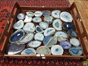 Sale 8601 - Lot 1349 - Large Collection Blue Polished Agate Slices