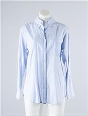 Sale 8685F - Lot 86 - An equipment femme sky blue (presumed cotton) button down shirt, size XS
