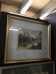 Sale 8690 - Lot 2035 - Keith Sanger - River Bend, watercolour, 33.5 x 38.5cm (frame size), signed lower right