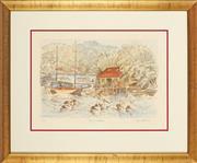 Sale 8870 - Lot 2066 - Cedric Emmanuel (1906 - 1995) - Bewowra Boatshed 30 x 45cm