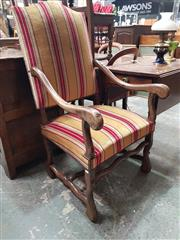 Sale 8868 - Lot 1138 - Louis XIV Oak Armchair, with coloured striped velvet upholstery, with serpentine legs & stretchers