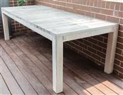 Sale 8904H - Lot 68 - A Robert Plumb distressed finish limed oak dining table. Height 76cm x Width 100cm x Length 201cm