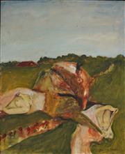 Sale 8947 - Lot 537 - Garry Shead (1942 - ) - Nude & Landscape 76.5 x 60.5 cm (frame: 78 x 63 x 4 cm)
