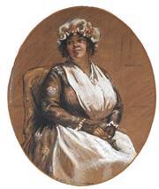 Sale 9053 - Lot 2083 - Artist Unknown - Portrait of an Early 19th Century Woman 23 x 19 cm (mount: 43 x 32 cm)