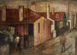 Sale 9096 - Lot 536 - John Santry (1910 - 1990) A Back Street, Redfern oil on board 39 x 55.5 cm (frame: 72 x 89 x 4 cm) signed lower right, purchase hist...