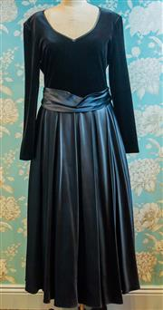 Sale 8448A - Lot 51 - Gorgeous vintage John Marks London full length gown featuring velveteen long sleeve bodice and full length satin pleated skirt with...