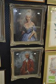 Sale 8503 - Lot 2026 - Raymond Lindsay (2 works) - Louis XVI Courtiers 33.5 x 28.5cm, each