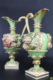 Sale 8586 - Lot 68 - Bloor Derby Pair Of Floral Encrusted Vases (Repaired) (H: 28cm)