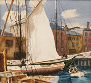 Sale 8624 - Lot 563 - Max Ragless (1901 - 1981) - The White Sail 30 x 32.5cm
