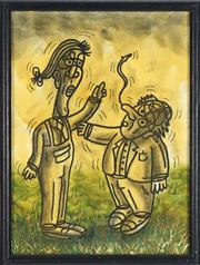 Sale 8764 - Lot 594 - Justin Feuerring (c1985 - ) - Untitled (Two Figures in mid-conversation) 39 x 29cm