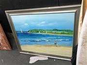 Sale 8853 - Lot 2086 - Coastal Scene with Lighthouse in the Distance, acrylic on canvas, unsigned
