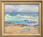 Sale 8964 - Lot 2028 - Erika Zichy Beach Scene 1968 gouahce, 48 x 56cm (frames), signed