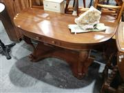 Sale 8988 - Lot 1058 - Timber Demilune Single Drawer Hall Table (H:67 W:126 D:54cm)