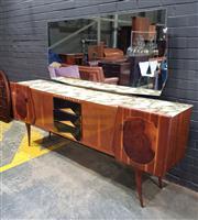 Sale 9056 - Lot 1060 - Vintage veneered elevated sideboard with mirrored back and inlaid doors