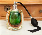 Sale 9066H - Lot 66 - A glass retro-style perfume bottle in green and amber. H 14cm