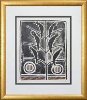 Sale 8301A - Lot 94 - Artist Unknown (XX) - Black Cockatoos in Tree 54 x 43cm