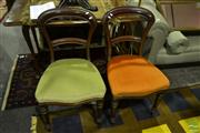 Sale 8515 - Lot 1023A - Pair of Mahogany Dining Chairs in Orange & Green Upholstered Seat